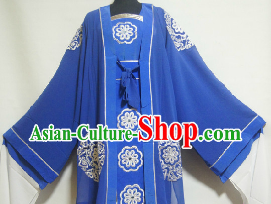 Chinese Ancient Blue Embroidery Clothes for Women