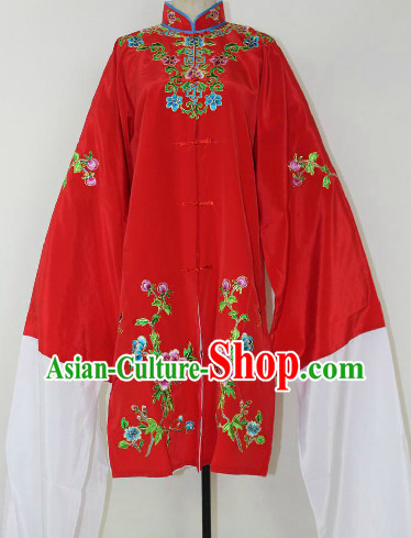 Chinese Ancient Red Embroidered Flower Long Robe for Women