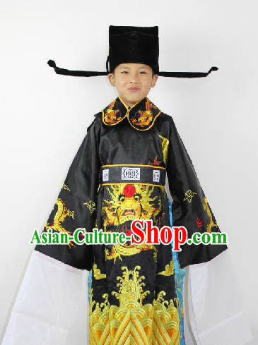 Traditional Chinese Stage Guan Gong Costumes and Hat for Children