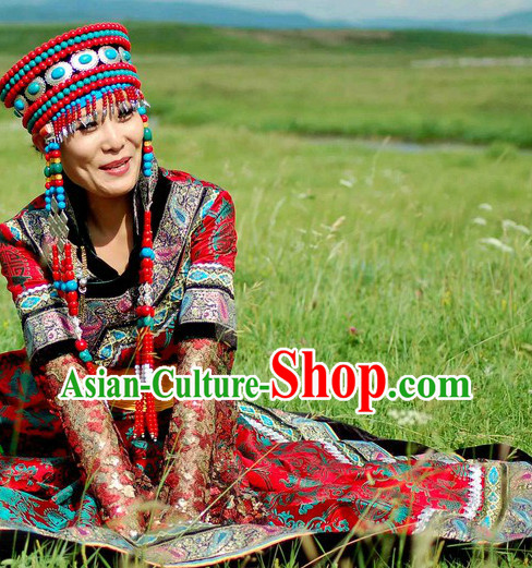 Mongolian Bride Bridal Clothing and Hat Complete Set
