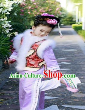 Qing Dynasty Princess Clothes and Headgear for Kids