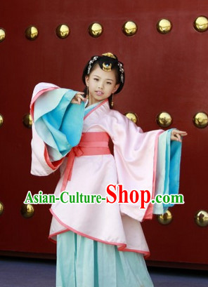 China Han Dynasty Princess Clothes and Headgear for Kids