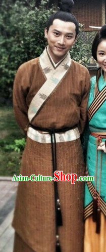 Ancient China Hanfu Long Robe Set for Men