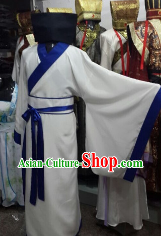 Ancient Chinese Student Costume and Hat for Men
