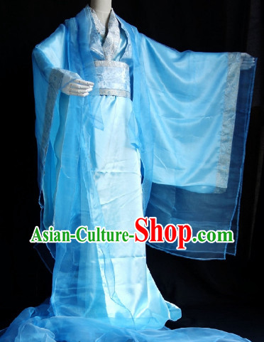 Traditional Blue Guzhuang Clothes with Long Trail for Men