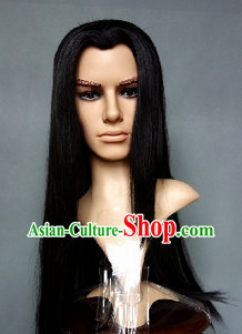 Ancient Chinese Black Long Wig for Men or Women