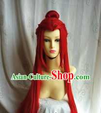 Ancient Chinese Style Long Red Cosplay Wig for Men