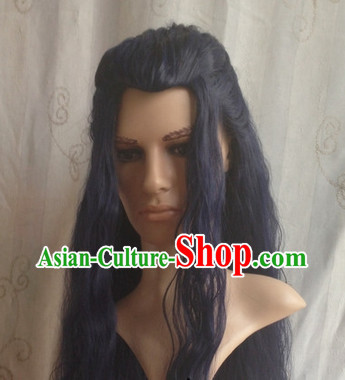 Chinese Classical Long Curly Wig for Men