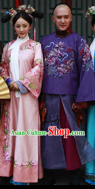 Tang Dynasty Chinese Princess and Prince Robes and Headwear Complete Sets for Adults