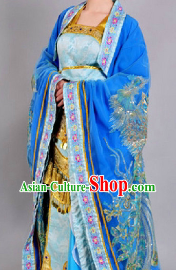 Chinese Empress Blue Peacock Costumes Complete Set