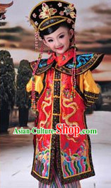 Ancient Chinese Empress Costumes and Hat Full Set for Children