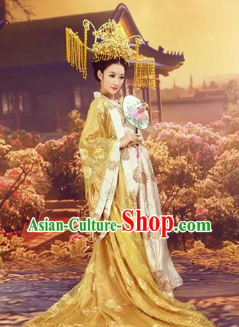 Chinese Classical Dance Costumes and Phoenix Coronet for Competition