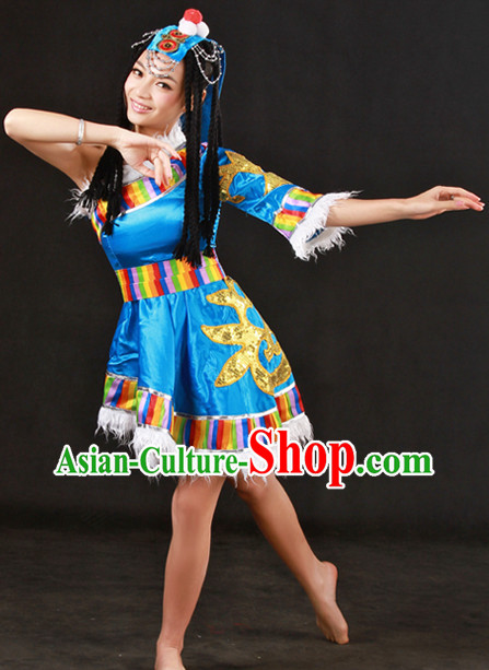 Tibetan Dance Costumes and Headwear Complete Set for Girls