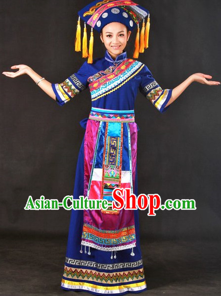Zhuang Ethnic Minority Singer Costumes and Hat Complete Set