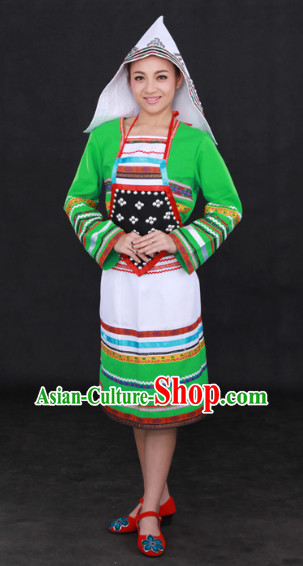 Jinuo Ethnic Minority Dresses and Headgear Complete Set