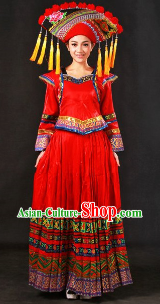 The Chinese Tibetan Ethnic Minority Clothes and Hat Complete Set