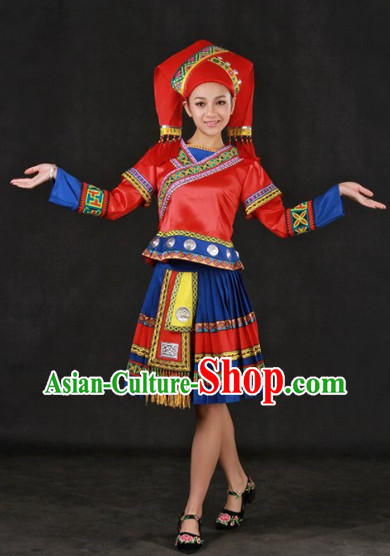 China Guangxi Zhuang People Clothes and Headwear