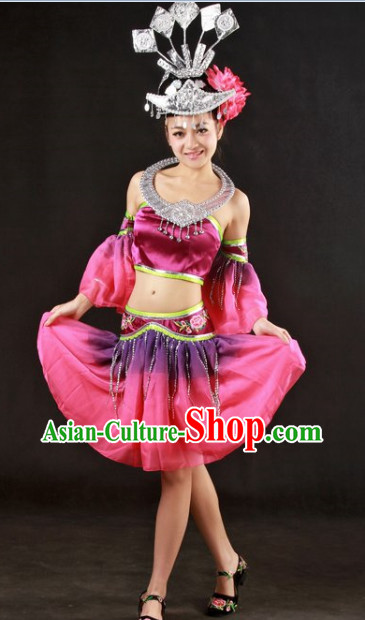 Miao People Dance Costumes and Headwear Full Set
