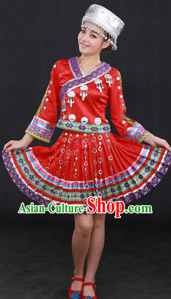 Miao Ethnic Minority Stage Costumes and Hat for Girls