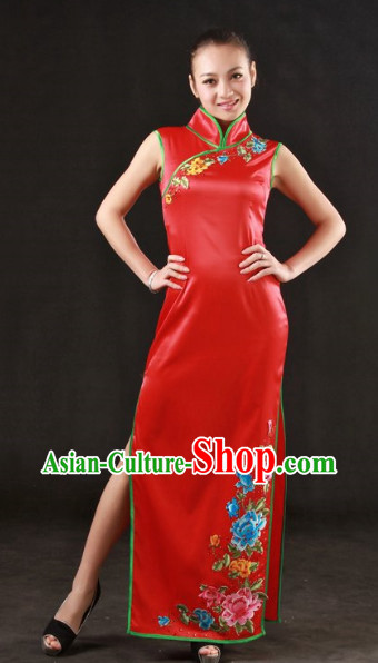 Cheongsam Stage Costumes and Headwear for Girls