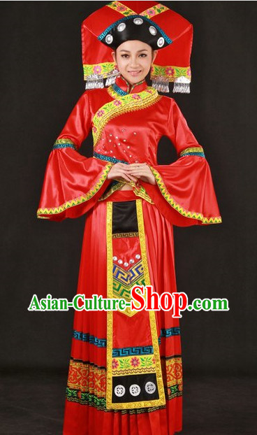 Traditional Chinese Zhuang Wedding Dresses and Hat for Women