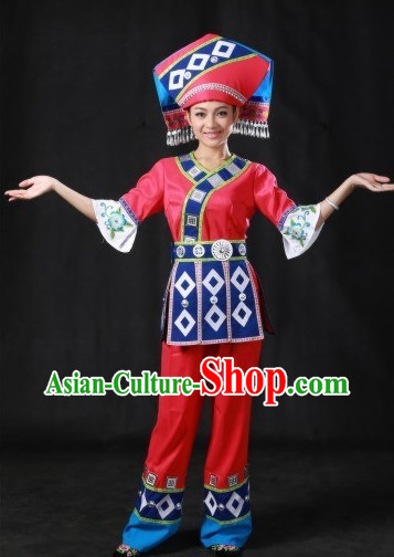 Chinese Zhuang Costumes and Hat Complete Set