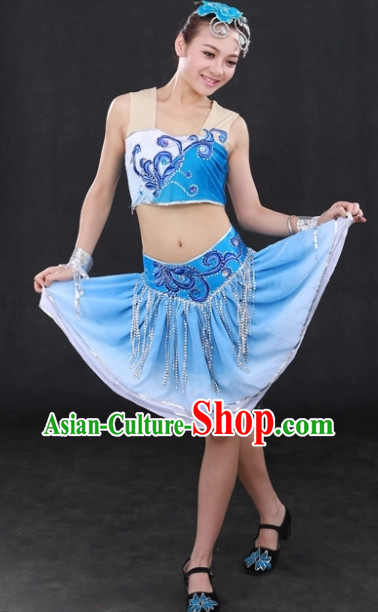 Modern Folk Dance Costumes and Headwear Complete Set for Women