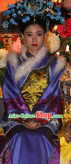 Traditional Qing Empress Dresses and Hat Complete Set