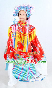 Traditional Chinese Phoenix Embroidery Costumes and Helmet Complete Set