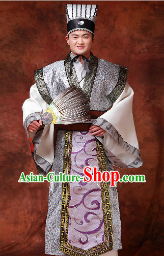 Chinese Zhuge Liang Costumes and Hat and Fan