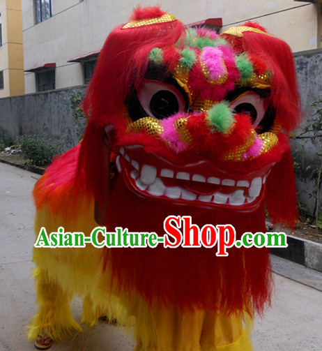 Yellow Laughing Two People Chinese Northern Lion Dancing Costumes Complete Set