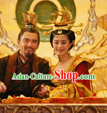 Tang Dynasty Emperor and Empress Costumes and Headwears Complete Set