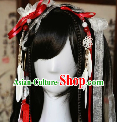 Chinese Classic Black Guzhuang Hanfu Wig and Hair Accessories for Girls