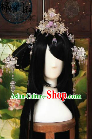 Ancient Chinese Imperial Palace Long Wig and Hair Accessories