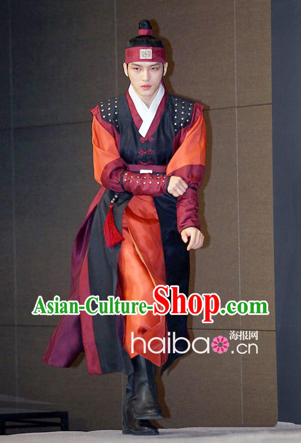 Ancient Korean Swordman Costumes and Headwear Complete Set