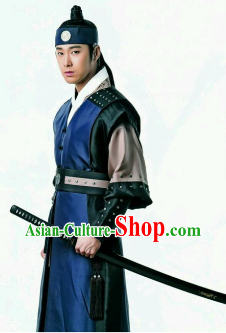 Korean Traditional Swordman Outfits and Headwear Complete Set