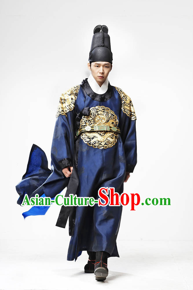 Ancient Korean Palace Imperial Emperor Costumes and Hat Complete Set