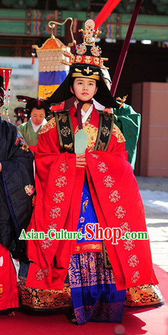 Ancient Korean Princess Costumes and Hat Complete Set
