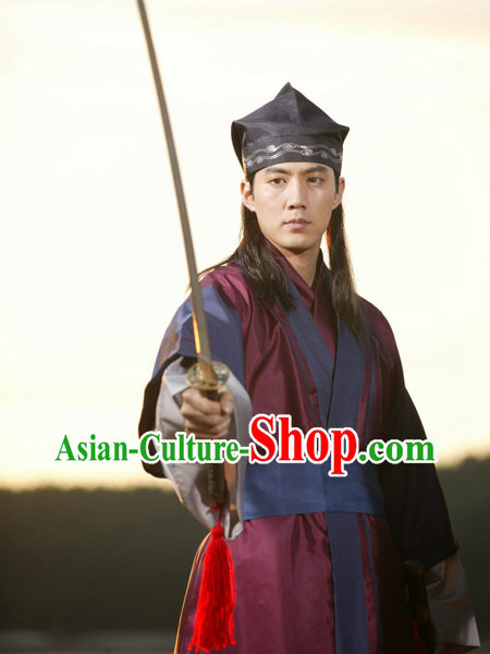 Ancient Korean Swordman Clothes and Hat Complete Set