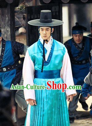 Traditional Korean Blue Clothes and Hat Complete Set