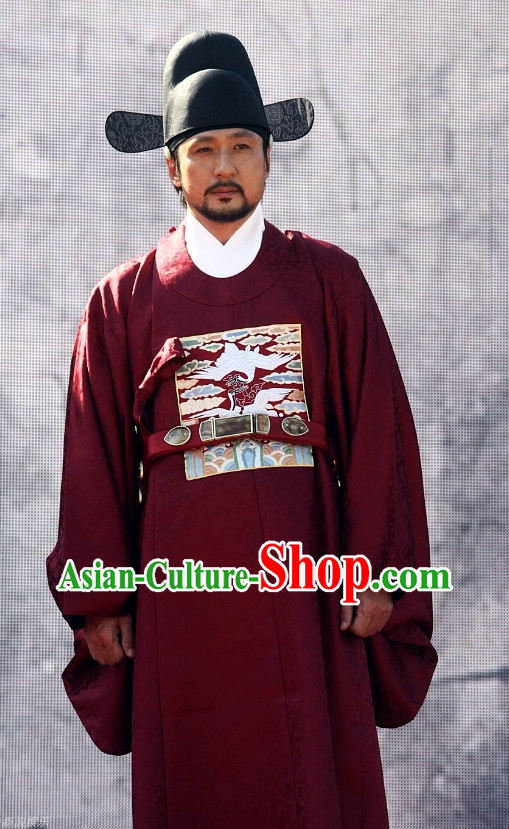 Korean Traditional Top Official Clothes and Black Hat