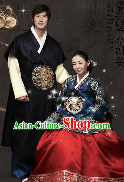 Korean Traditional Husband and Wife Tang Style Clothes 2 Sets