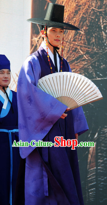 Korean Traditional Hanbok Robe and Hat for Men
