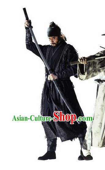 Traditional Korean Black Swordman Costumes and Headwear