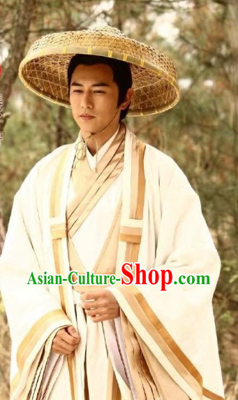 Chinese Traditional Historical Jiang Ziya Hanzhuang Costumes and Hat for Men