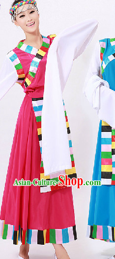 Tibetan Dance Costumes and Headwear for Girls
