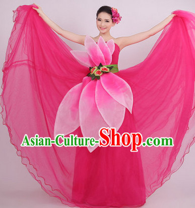 Traditional Peach Color Petal Dance Costumes and Headwear for Girls