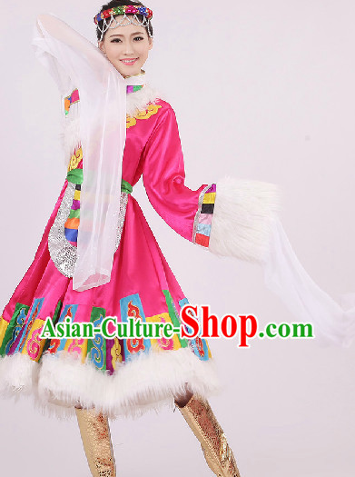 Big Festival Celebration Stage Tibetan Dancing Costumes and Headwear for Girls