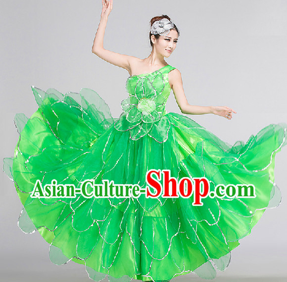 Green Group Dance Costumes Complete Set for Women