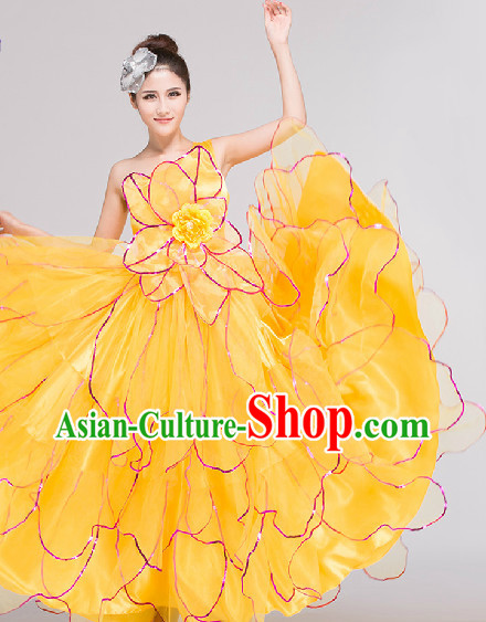 Yellow Grand Opening Group Dance Costumes Complete Set for Women